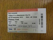 Billete De 29/09/2012: Fulham v Manchester City (plegado). gracias por ver este I