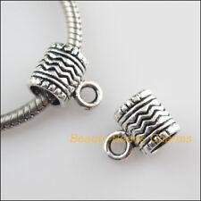 8 New Tube Charm Tibetan Silver Tone European Bail Beads Fit Bracelet 8.5x12.5mm