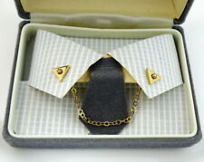 Collar Chain with Pins Goldtone New Old Stock Nos Triangular with Rhinestone