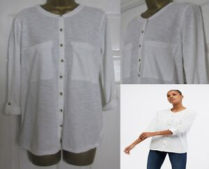 NEW White Stuff Ladies White Jersey Grandad Shirt Top Organic Cotton Relaxed Fit