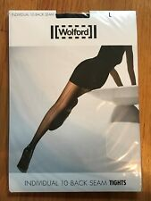 Wolford for JCrew Individual 10 Back Seam Tights Stockings L Large Black $50