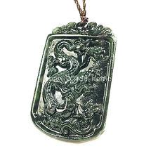 Natural Black green jade serpentine carving Chinese Dragon magnet Pendant