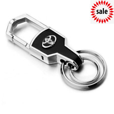Hot Double Ring Car Logo Metal Leather Key chains Silver keyring for Toyota &