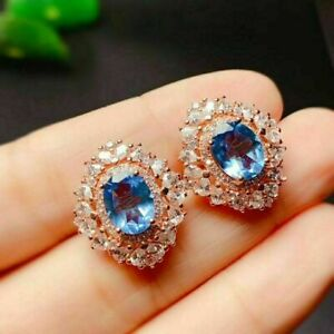 4Ct Oval Cut Blue Topaz Diamond Push Back Halo Stud Earrings 14KRose Gold Finish