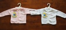BABY GIRLS KNITTED CARDIGAN WHITE PINK BOW LONG SLEEVED 0-3 3-6 6-9 MONTHS NEW