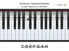 Klavier-, Piano-, Keyboard-, Noten- Aufkleber, C-D-E-F-G-A-H, 52 Stickers
