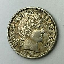 Dated : 1907 - Silver Coin - One Dime - Barber Dime - America - USA