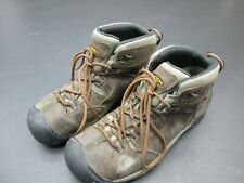 KEEN Size 12 Mens Brown Leather Lace-Up Oil Resistant Hike Work Ankle Boots 3D