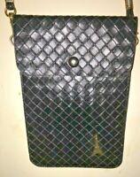 Eiffel Tower crossbody slim bag, waffle weave leather, strap, card sleeve