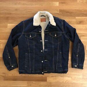 Levis Sherpa Fleece Lined Trucker Jacket Denim Jean Blue Men's XXL 2XL