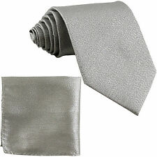 New Men's Polyester Glitters Neck Tie necktie and Pocket Square Hankie Silver