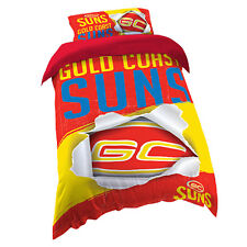 Gold Coast Suns AFL SINGLE Bed Quilt Doona Duvet Cover Set *NEW 2018 GIFT Idea