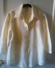 Edward,womens,100% Irish linen w/ruched 3/4 sleeve,button down shirt,Sz.L