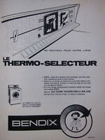 PUBLICITÉ DE PRESSE 1961 LE THERMO-SELECTEUR BENDIX LAVE LINGE - ADVERTISING