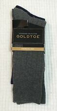 GOLD TOE mens Sz 6-12 dress socks blue gray Signature Collection 2 pairs NWT b5