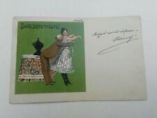 """Cartolina Pubblicitaria Umoristica """"Busto, sopra misura"""" pubblicità EVM"""