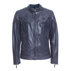 Blauer USA Herren  Perforierte Leder Jacke Dunkel Blau  M-L