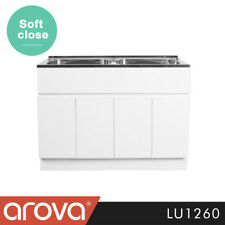 Laundry Trough Cabinet High Gloss White Stainless Steel Double Bowl Sink 1160mm