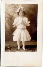 rppc Girl hands praying in white dress, shoes, hat  1904-1918 Rugen Studio RI