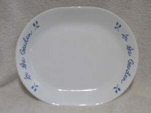 Corelle In The Garden 10 by 12 Inch Platter Blue White Excellent