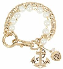 Betsey Johnson B12128-B01 Anchor Charm Faux-Pearl Line Bracelet