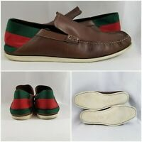 GUCCI GG Guccisama Brown Canvas Ribbon Heel Leather Shoes Loafers Men's Size 12