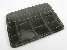 PELGIO Genuine Crocodile Skin Leather Slim Credit Card Holder Wallet Glaze Brown