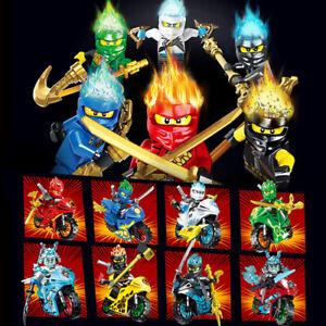 8 × Ninjago Minifigures Motorcycle Motorbike Set - Building Block compatible Toy