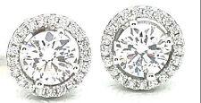 Women's Ladies Real 925 Silver CZ Push HALO Stud Earrings 14K White Gold Finish
