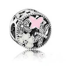 Butterfly European CZ Crystal Charm Silver Spacer Beads Fit Necklace Bracelet