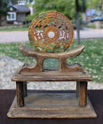 Chinese Hand Carved Jade Bi Disc With Stand