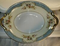 Noritake Blue Dawn Rim 622 Japan Oval Vegetable Gold Trim Discontinued
