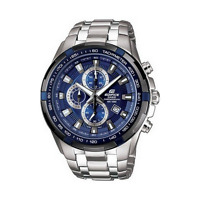 Casio Men's Edifice Stainless Steel Chrono Blue Black Tachymeter Watch EF539D-2A