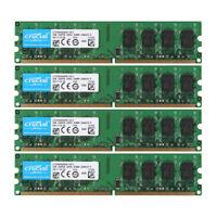 4x Crucial 2GB 2RX8 PC2-6400U DDR2 800MHz 240pin 1.8V DIMM RAM Desktop Memory