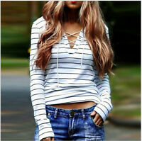 Women Striped Long Sleeve Lace Up V Neck T-Shirt Casual Tops Blouse Plus Size US