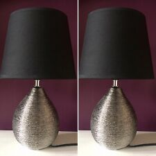 *NEW* Pair of Black And Silver/grey Table Lamps Lights Bedside Bedroom. Metallic