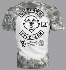 TRUE RELIGION Mens T-Shirt OUTLAWS Buddha Dark Grey Tie Dye $89 Jeans NWT