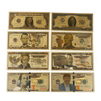 8Pcs/set commemorative gold foil usa dollars paper money banknotes collectionsTB
