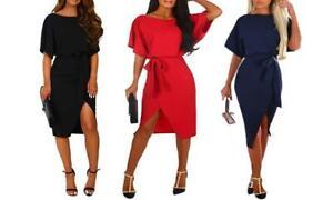 Womens Batwing Tie Belted Split Dress Oversized Sleeve Ladies Midi Dresses NEW