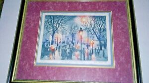 """Vintage Multi Colored Etching, """"Misty San Francisco"""", 1993, By Avi Thaw"""