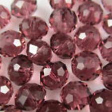 Wholesale Faceted Crystal Loose Charm Glass Beads purple Red  6*8mm 70pc