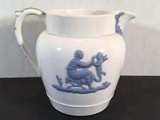 Vintage WEDGWOOD Etruria Barlaston embossed Queens Ware Blue White Angel PTICHER