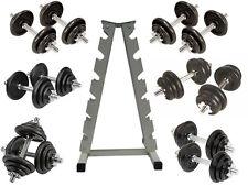 6 Dumbell Sets & Storage Rack, Regular Weight Discs Spinlock Bars, 10-20KG Pairs