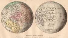 Carta: EMISFERO ACQUATICO e TERRESTRE. Mappamondo. 1872.PASSEPARTOUT.CERTIFICATO
