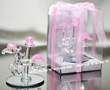 12 PC CRYSTAL CAROUSEL GLASS BABY SHOWER PARTY FAVORS PINK RECUERDOS HORSE GIFTS