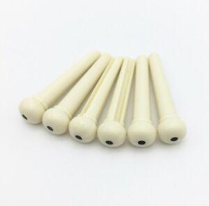 Set of 6 Acoustic Guitar Plastic Bridge Pins - Ivory