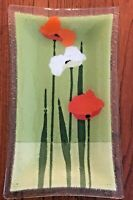"Peggy Karr Art Glass 10""x 5.5"" Rectangle Poppy Tray Plate Handcrafted Signed USA"