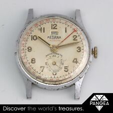 Vintage 1940s Medana Calendar Chronograph Anti Magnetic Day Date Watch WORKS