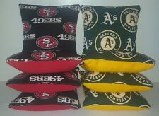 SET OF 8 ALL WEATHER SAN FRANCISCO 49ERS/OAKLAND A'S CORNHOLE BAGS FREE SHIPPING