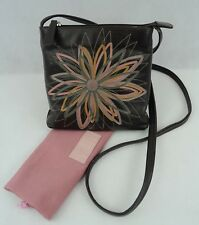 Radley Brown Leather Cross-Body Handbag with Flower Detail Front (H)